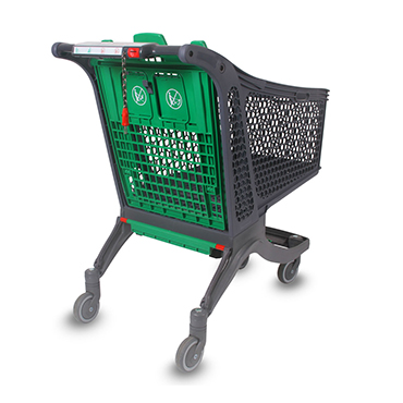 Hypermarket shopping cart with capacity for 180 liters totally made of plastic.