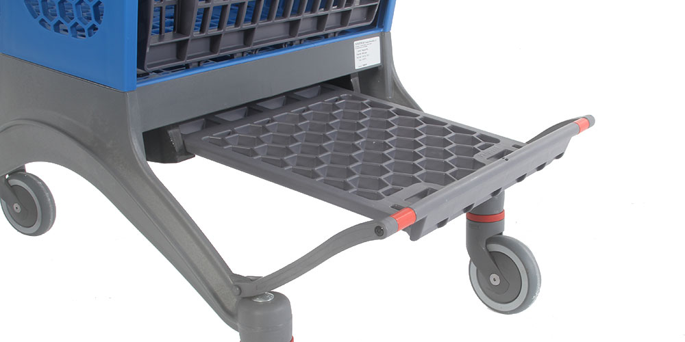 The Polycart P240 plastic shopping cart holder provides extra space for transporting milk or water packs, among other things
