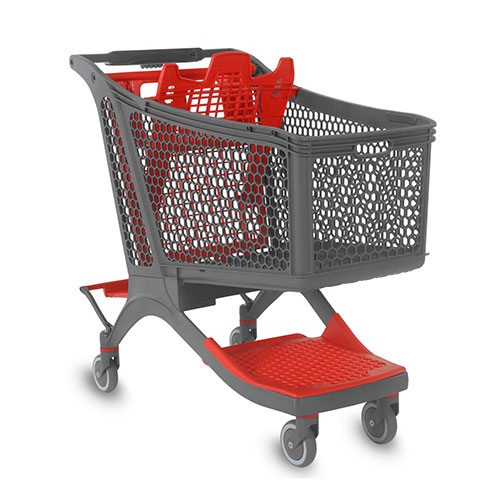 Supermarket plastic shopping cart P240 general view